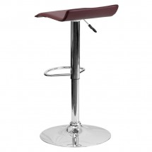 Flash Furniture DS-801-CONT-BURG-GG Contemporary Burgundy Vinyl Adjustable Height Bar Stool addl-1