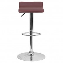 Flash Furniture DS-801-CONT-BURG-GG Contemporary Burgundy Vinyl Adjustable Height Bar Stool addl-2