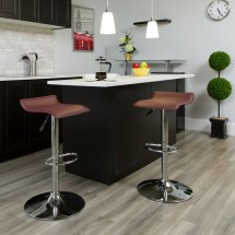 Flash Furniture DS-801-CONT-BURG-GG Contemporary Burgundy Vinyl Adjustable Height Bar Stool addl-3