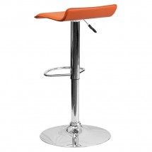 Flash Furniture DS-801-CONT-ORG-GG Contemporary Orange Vinyl Adjustable Height Bar Stool addl-1