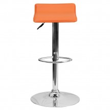 Flash Furniture DS-801-CONT-ORG-GG Contemporary Orange Vinyl Adjustable Height Bar Stool addl-2