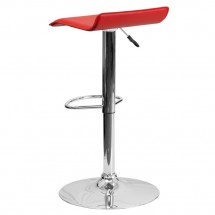 Flash Furniture DS-801-CONT-RED-GG Contemporary Red Vinyl Adjustable Height Bar Stool addl-1