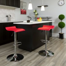 Flash Furniture DS-801-CONT-RED-GG Contemporary Red Vinyl Adjustable Height Bar Stool addl-3