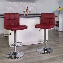 Flash Furniture DS-810-MOD-BURG-GG Contemporary Burgundy Quilted Vinyl Adjustable Height Bar Stool addl-3