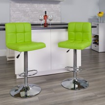 Flash Furniture DS-810-MOD-GRN-GG Contemporary Green Quilted Vinyl Adjustable Height Bar Stool addl-3