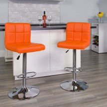 Flash Furniture DS-810-MOD-ORG-GG Contemporary Orange Quilted Vinyl Adjustable Height Bar Stool addl-3