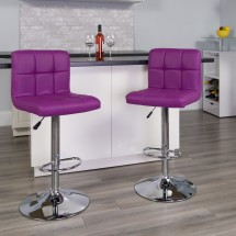 Flash Furniture DS-810-MOD-PUR-GG Contemporary Purple Quilted Vinyl Adjustable Height Bar Stool addl-3