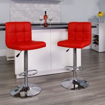 Flash Furniture DS-810-MOD-RED-GG Contemporary Red Quilted Vinyl Adjustable Height Bar Stool addl-3