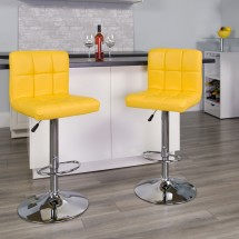 Flash Furniture DS-810-MOD-YEL-GG Contemporary Yellow Quilted Vinyl Adjustable Height Bar Stool addl-3