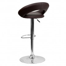 Flash Furniture DS-811-BRN-GG Contemporary Brown Vinyl Rounded Back Adjustable Height Bar Stool addl-1