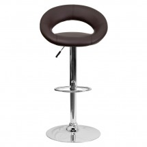 Flash Furniture DS-811-BRN-GG Contemporary Brown Vinyl Rounded Back Adjustable Height Bar Stool addl-2