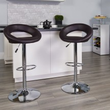 Flash Furniture DS-811-BRN-GG Contemporary Brown Vinyl Rounded Back Adjustable Height Bar Stool addl-3