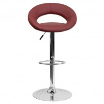 Flash Furniture DS-811-BURG-GG Contemporary Burgundy Vinyl Rounded Back Adjustable Height Bar Stool addl-2