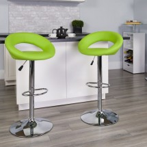 Flash Furniture DS-811-GRN-GG Contemporary Green Vinyl Rounded Back Adjustable Height Bar Stool addl-3