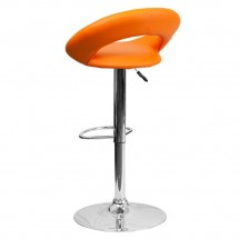 Flash Furniture DS-811-ORG-GG Contemporary Orange Vinyl Rounded Back Adjustable Height Bar Stool addl-1