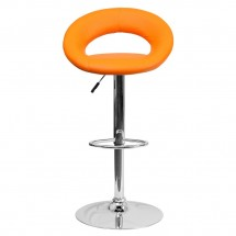 Flash Furniture DS-811-ORG-GG Contemporary Orange Vinyl Rounded Back Adjustable Height Bar Stool addl-2
