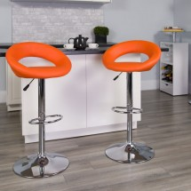 Flash Furniture DS-811-ORG-GG Contemporary Orange Vinyl Rounded Back Adjustable Height Bar Stool addl-3