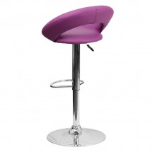 Flash Furniture DS-811-PUR-GG Contemporary Purple Vinyl Rounded Back Adjustable Height Bar Stool addl-1