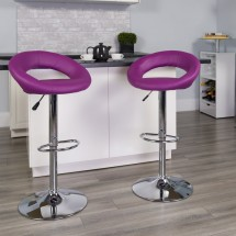 Flash Furniture DS-811-PUR-GG Contemporary Purple Vinyl Rounded Back Adjustable Height Bar Stool addl-3