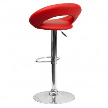 Flash Furniture DS-811-RED-GG Contemporary Red Vinyl Rounded Back Adjustable Height Bar Stool addl-1