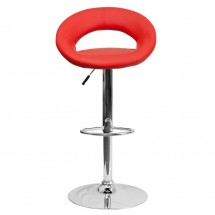 Flash Furniture DS-811-RED-GG Contemporary Red Vinyl Rounded Back Adjustable Height Bar Stool addl-2