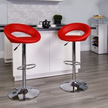 Flash Furniture DS-811-RED-GG Contemporary Red Vinyl Rounded Back Adjustable Height Bar Stool addl-3