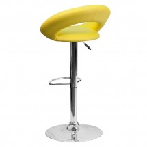 Flash Furniture DS-811-YEL-GG Contemporary Yellow Vinyl Rounded Back Adjustable Height Bar Stool addl-1
