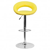 Flash Furniture DS-811-YEL-GG Contemporary Yellow Vinyl Rounded Back Adjustable Height Bar Stool addl-2