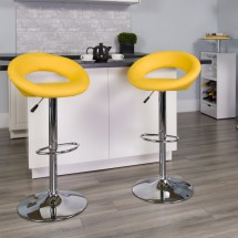 Flash Furniture DS-811-YEL-GG Contemporary Yellow Vinyl Rounded Back Adjustable Height Bar Stool addl-3