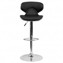Flash Furniture DS-815-BK-GG Contemporary Cozy Mid-Back Black Vinyl Adjustable Height Bar Stool addl-2