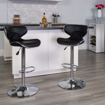 Flash Furniture DS-815-BK-GG Contemporary Cozy Mid-Back Black Vinyl Adjustable Height Bar Stool addl-3