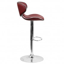 Flash Furniture DS-815-BURG-GG Contemporary Cozy Mid-Back Burgundy Vinyl Adjustable Height Bar Stool addl-4