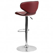 Flash Furniture DS-815-BURG-GG Contemporary Cozy Mid-Back Burgundy Vinyl Adjustable Height Bar Stool addl-1