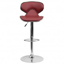 Flash Furniture DS-815-BURG-GG Contemporary Cozy Mid-Back Burgundy Vinyl Adjustable Height Bar Stool addl-2