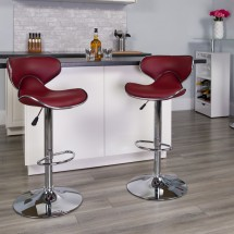 Flash Furniture DS-815-BURG-GG Contemporary Cozy Mid-Back Burgundy Vinyl Adjustable Height Bar Stool addl-3