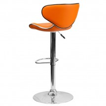 Flash Furniture DS-815-ORG-GG Contemporary Cozy Mid-Back Orange Vinyl Adjustable Height Bar Stool addl-1