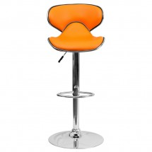 Flash Furniture DS-815-ORG-GG Contemporary Cozy Mid-Back Orange Vinyl Adjustable Height Bar Stool addl-2