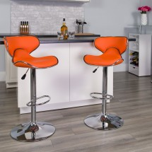 Flash Furniture DS-815-ORG-GG Contemporary Cozy Mid-Back Orange Vinyl Adjustable Height Bar Stool addl-3