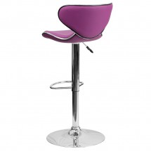 Flash Furniture DS-815-PUR-GG Contemporary Cozy Mid-Back Purple Vinyl Adjustable Height Bar Stool addl-1