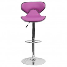 Flash Furniture DS-815-PUR-GG Contemporary Cozy Mid-Back Purple Vinyl Adjustable Height Bar Stool addl-2
