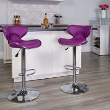 Flash Furniture DS-815-PUR-GG Contemporary Cozy Mid-Back Purple Vinyl Adjustable Height Bar Stool addl-3