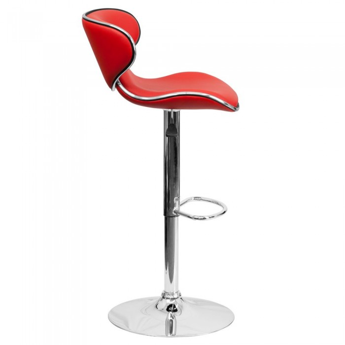 Cozy Mid-Back Red Vinyl Adjustable Bar Stool with Chrome Base by Flash Furniture