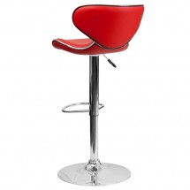 Flash Furniture DS-815-RED-GG Contemporary Cozy Mid-Back Red Vinyl Adjustable Height Bar Stool addl-1