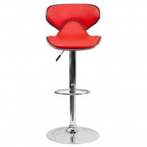 Flash Furniture DS-815-RED-GG Contemporary Cozy Mid-Back Red Vinyl Adjustable Height Bar Stool addl-2