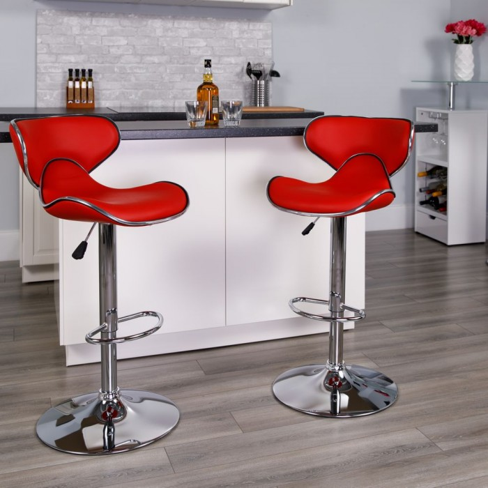 Awe Inspiring Flash Furniture Ds 815 Red Gg Contemporary Cozy Mid Back Red Gmtry Best Dining Table And Chair Ideas Images Gmtryco
