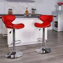 Flash Furniture DS-815-RED-GG Contemporary Cozy Mid-Back Red Vinyl Adjustable Height Bar Stool addl-3