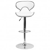 Flash Furniture DS-815-WH-GG Contemporary Cozy Mid-Back White Vinyl Adjustable Height Bar Stool addl-2