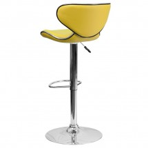 Flash Furniture DS-815-YEL-GG Contemporary Cozy Mid-Back Yellow Vinyl Adjustable Height Bar Stool addl-1