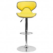 Flash Furniture DS-815-YEL-GG Contemporary Cozy Mid-Back Yellow Vinyl Adjustable Height Bar Stool addl-2