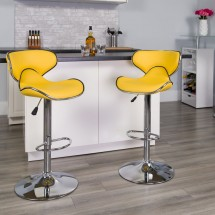 Flash Furniture DS-815-YEL-GG Contemporary Cozy Mid-Back Yellow Vinyl Adjustable Height Bar Stool addl-3